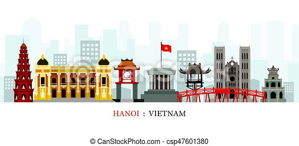 Hanoi vietnam en el horizonte - csp47601380