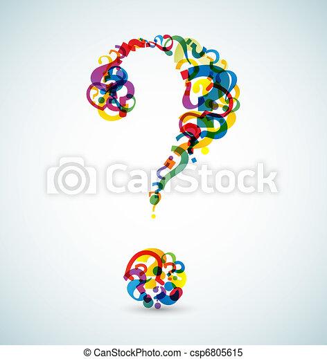 Gran interrogación hecha de pequeños interrogantes - csp6805615