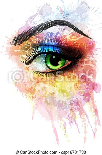 Ojos hechos de manchas coloridas - csp16731730
