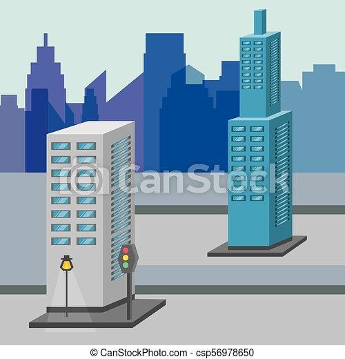 Hermosa ciudad con torres de construcción - csp56978650