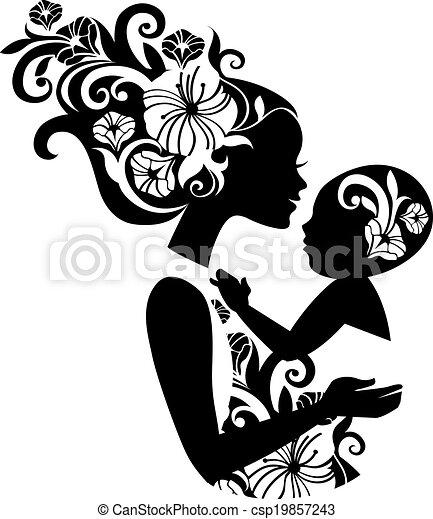 Hermosa madre silueta con el bebé en un cabestrillo. Ilustración floral - csp19857243