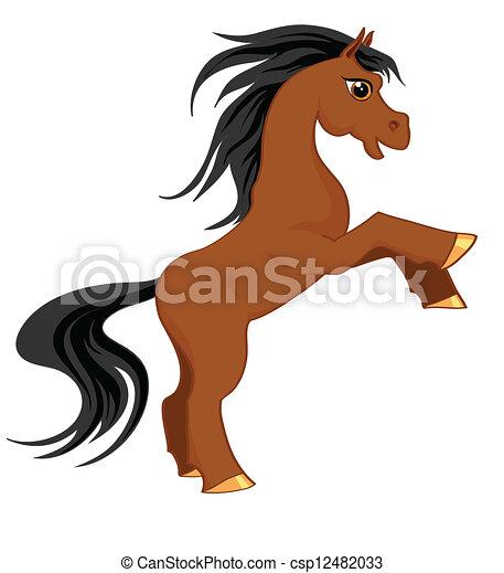 Hermoso caballo marrón en movimiento - csp12482033