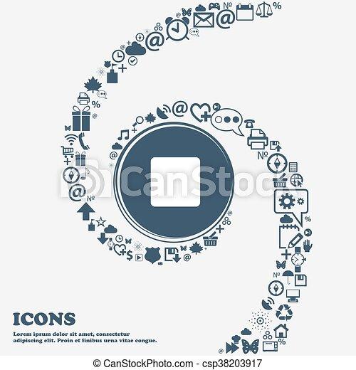 Paren la señal de icono en el centro. Alrededor de los muchos símbolos hermosos retorcidos en una espiral. Puedes usar cada uno por separado para tu diseño. Vector - csp38203917