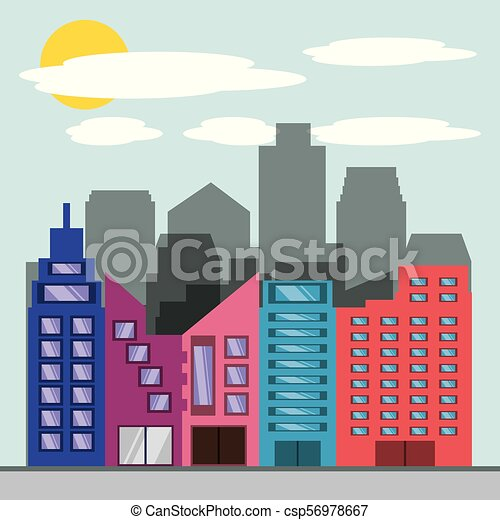 Hermosa ciudad con torres de construcción - csp56978667