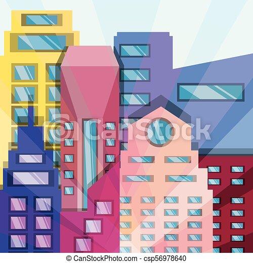 Hermosa ciudad con torres de construcción - csp56978640