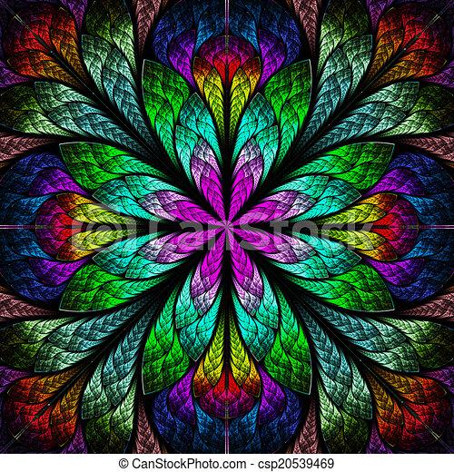 Multicolor hermosa flor fractal. La computadora generó gráficos - csp20539469