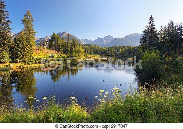 La escena de la montaña natural con un hermoso lago en Eslovaquia Tatra, Strbske pleso - csp12917047