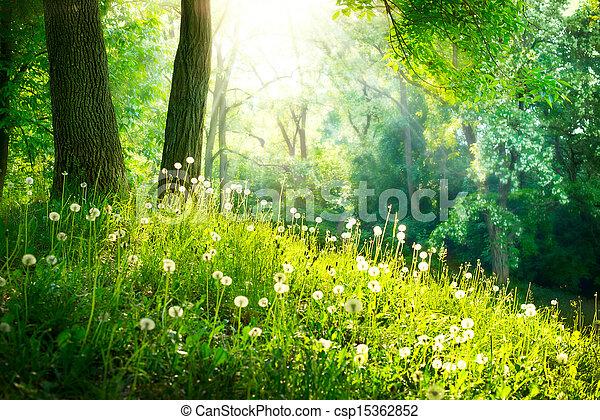 La naturaleza primaveral. Hermoso paisaje. Hierba verde y árboles - csp15362852