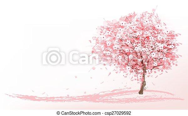 Hermoso fondo con un árbol de sakura rosa. Vector. - csp27029592
