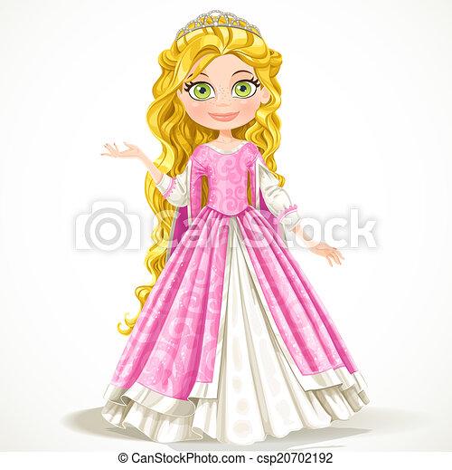 Hermosa princesa joven con el pelo rubio largo aislado en el fondo blanco - csp20702192