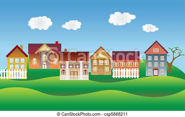 Hermoso pueblo o barrio - csp5668211