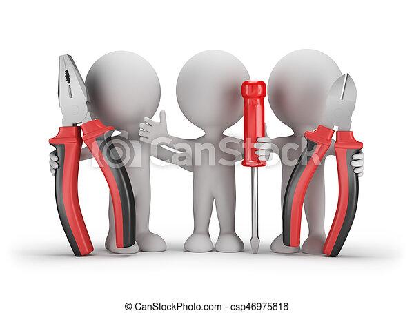 3D personas con una herramienta - csp46975818