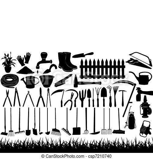 Ilustración de herramientas de jardinería - csp7210740