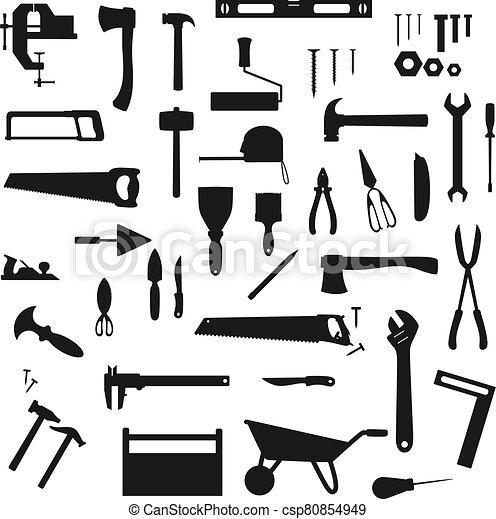 herramientas, siluetas, instrumentos, trabajo de construcción - csp80854949