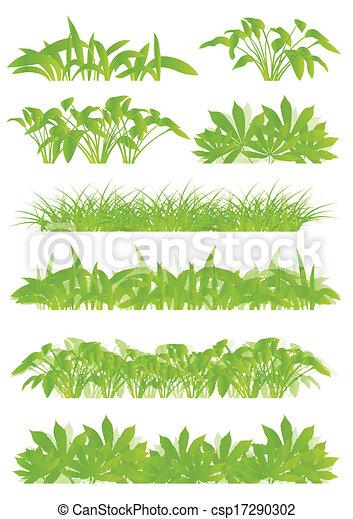 Hierba tropical exótica y plantas detalladas siluetas de ilustración de paisajes, recolección de vectores de fondo, concepto verde - csp17290302
