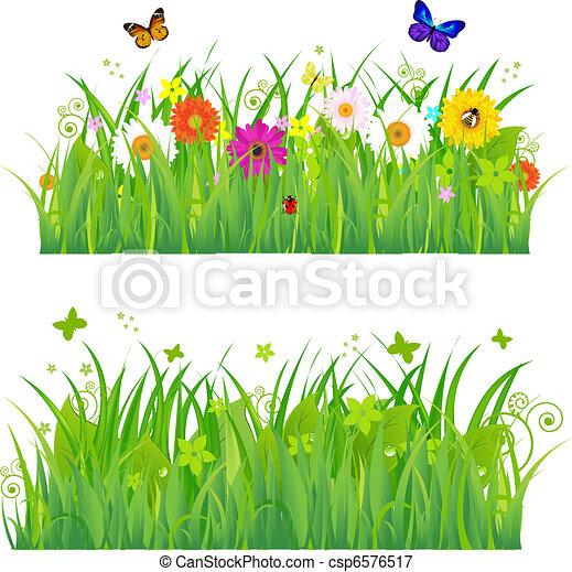 Hierba verde con flores e insectos - csp6576517