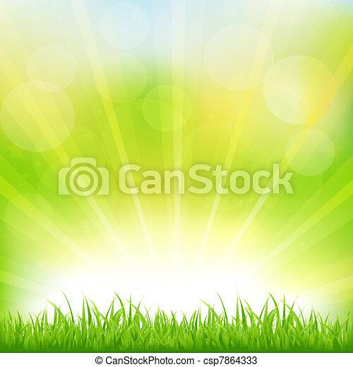 Edificio verde con hierba verde y soleado - csp7864333
