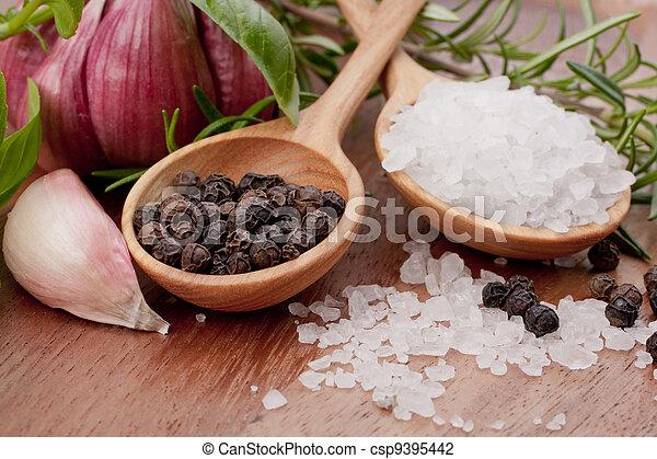 Hierbas frescas y cuchara de sal - csp9395442
