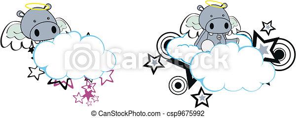 Hippo Angel caricatura de nubes copia espacio - csp9675992