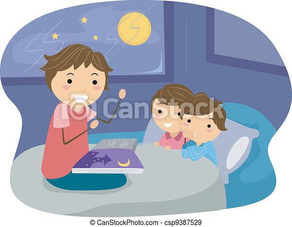 Historia de la hora de dormir - csp9387529