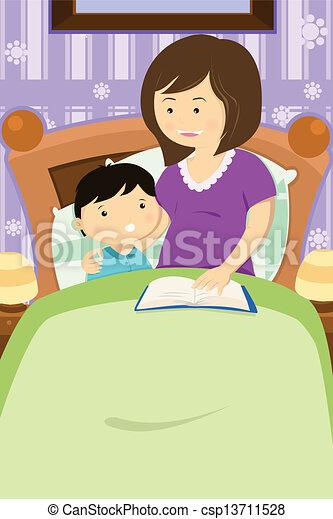 Madre leyendo un cuento para dormir - csp13711528