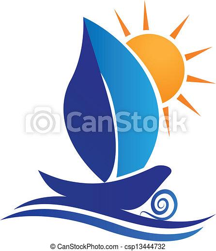 Hoja de bote y logotipo creativo del sol - csp13444732