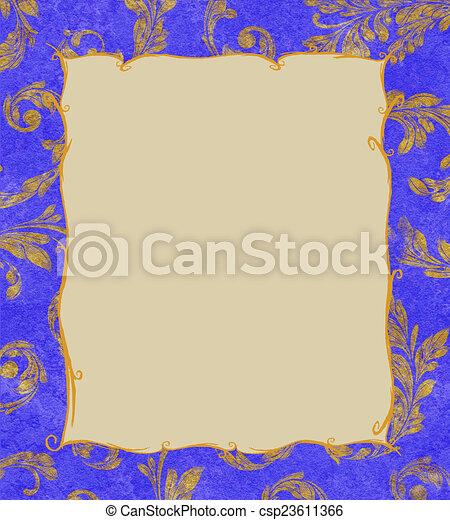Un marco de oro en un fondo de hojas de laurel - csp23611366