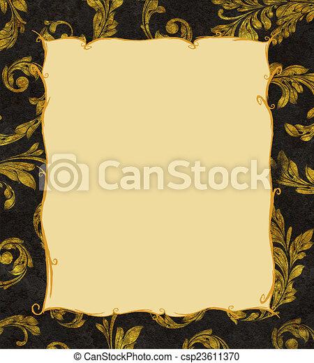 Un marco de oro en un fondo de hojas de laurel - csp23611370