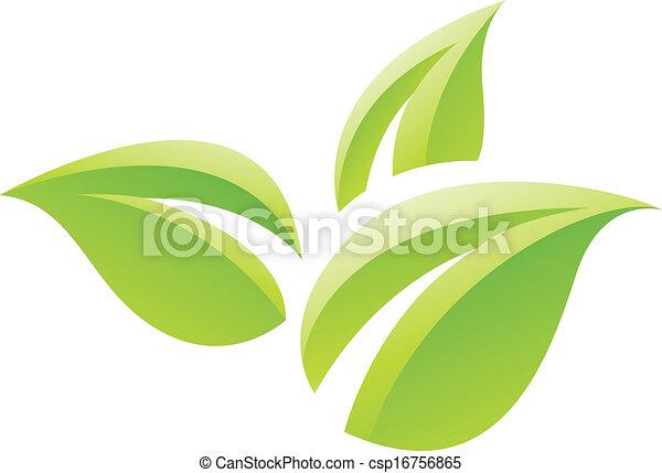 El icono de las hojas verdes - csp16756865
