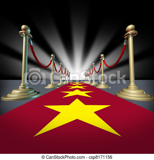 Una alfombra roja de Hollywood con estrellas - csp8171156