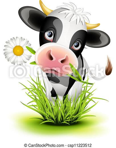 Vaca Holstein en la hierba - csp11223512