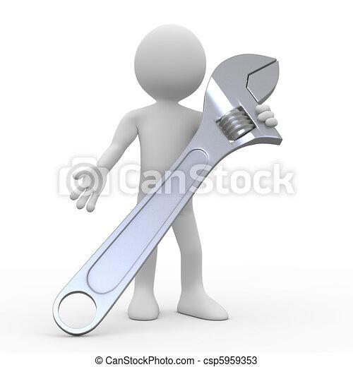 Hombre con una enorme llave ajustable - csp5959353