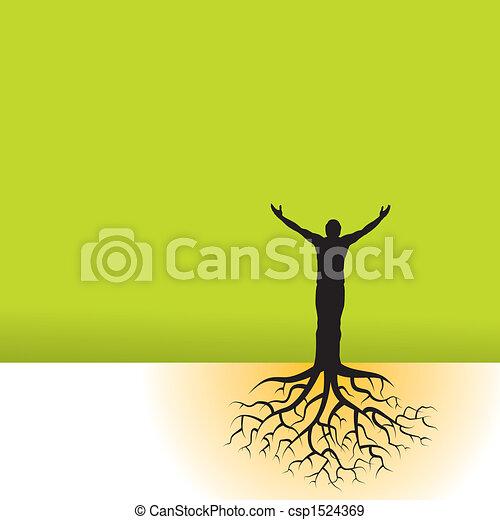 Hombre con raíces de árbol - csp1524369
