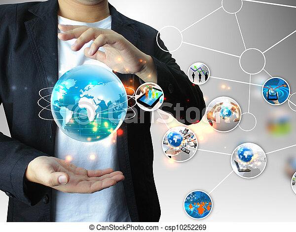Hombre de negocios con mundo de negocios - csp10252269