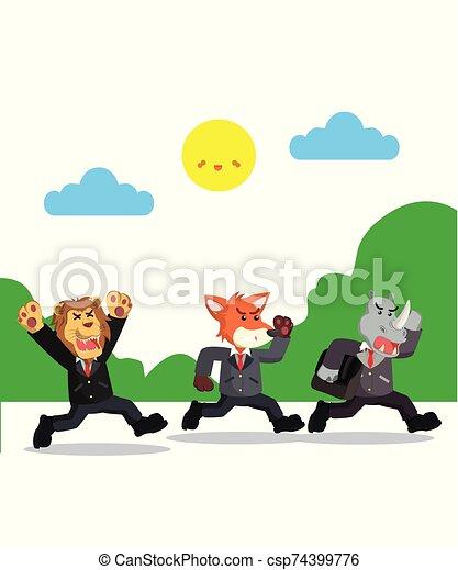 hombre de negocios, corra, tres, ilustración, vector - csp74399776