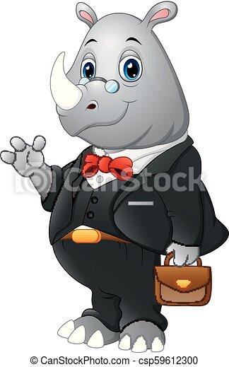 Hombre de negocios de rinocerontes de dibujos animados saludando - csp59612300
