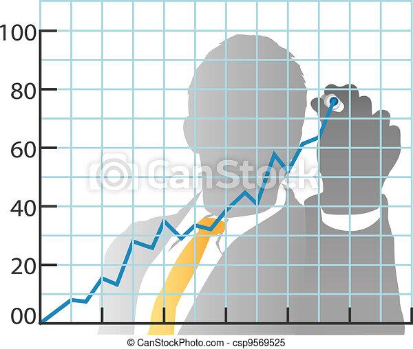 Hombre de negocios dibujando la carta de reparto del mercado - csp9569525