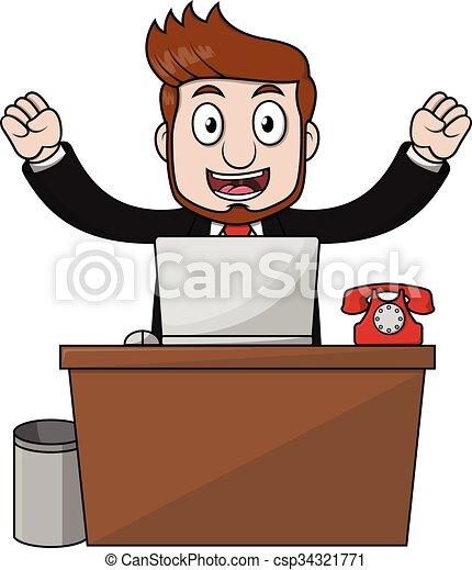 Hombre de negocios, escritorio feliz - csp34321771
