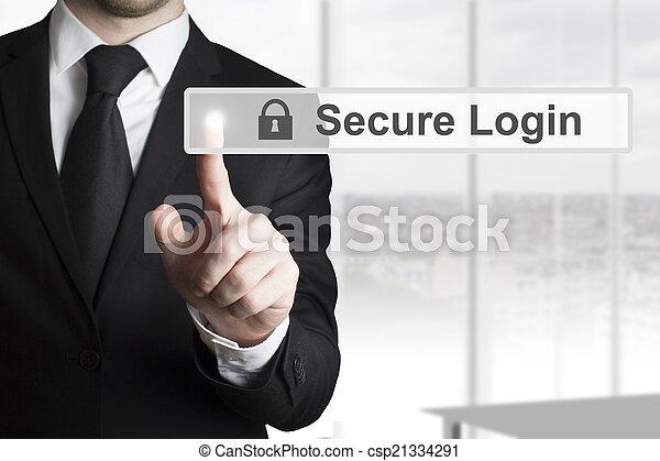 Hombre de negocios empujando pantalla de pantalla de tousch - csp21334291
