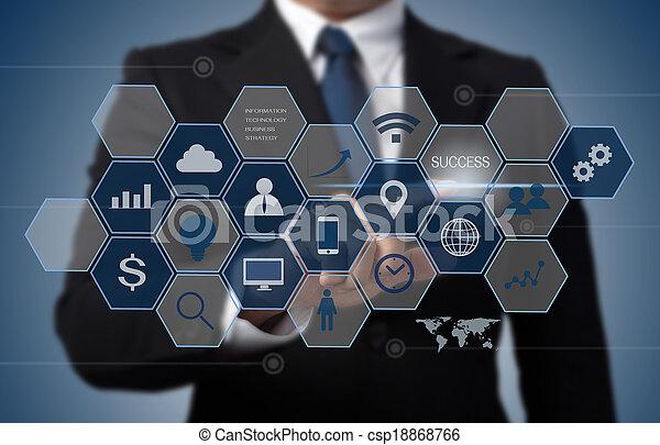 Hombre de negocios trabajando con la computadora moderna como concepto de tecnología de información - csp18868766