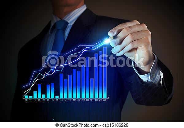 Hombre de negocios dibujando gráficos - csp15106226
