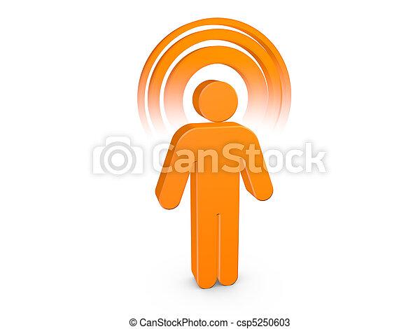 Hombre espiritual naranja con aura de color visible - csp5250603