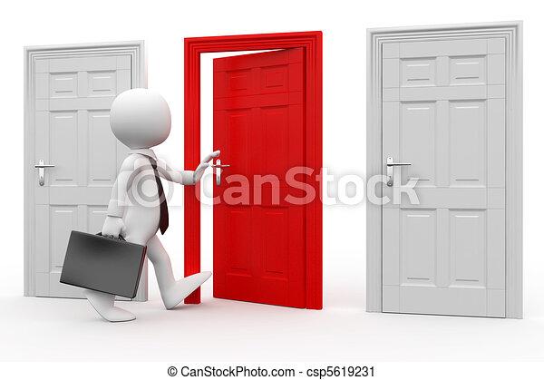 Un hombre con una puerta roja - csp5619231