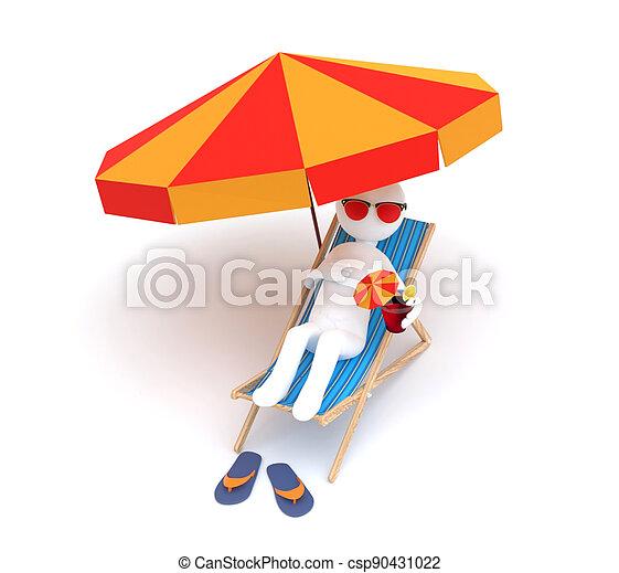hombre, sombrilla, relajante, deckchair - csp90431022
