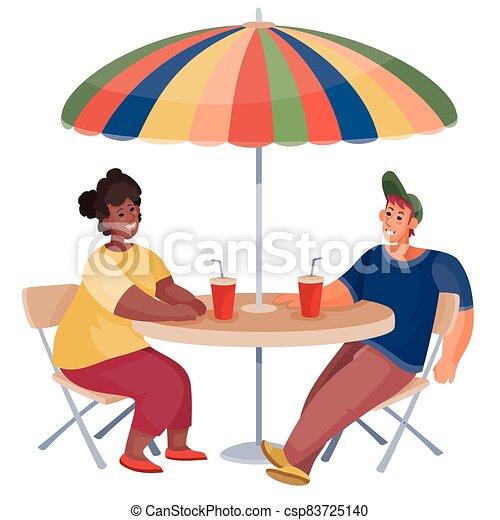 hombre, tabla, fecha, reunión, mujer, debajo, objeto, redondo, empresa / negocio, paraguas, aislado, amigos, desayuno, plano de fondo, sentado, blanco - csp83725140