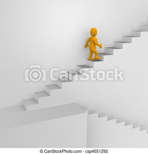 Hombre y escaleras. 3d ilustrado. - csp4551292