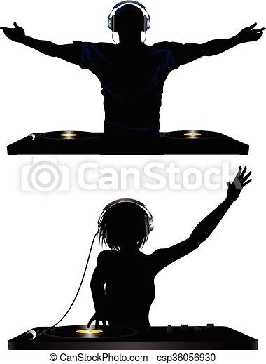Hombre y mujer DJ - csp36056930
