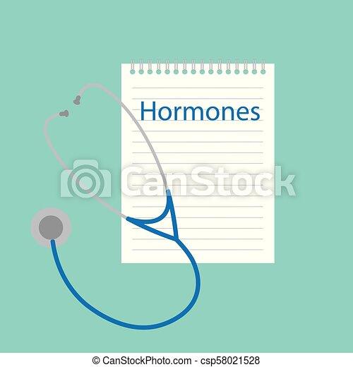 Hormonas escritas en cuaderno - csp58021528