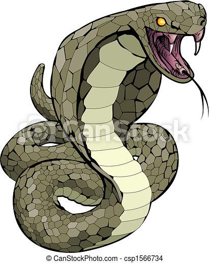 Serpiente Cobra a punto de hacer ilustraciones - csp1566734