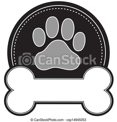 hueso de perro y pata - csp14945053